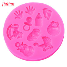 Baby Shower Party stroller hand bottle Trojan Shape 3D fondant cake silicone mold kitchen candy cupcake decoration tools F0300(China)