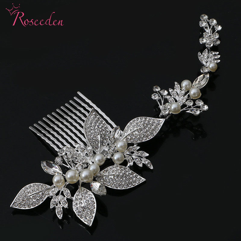 women luxury rhinestone flowers with simulated pearl hair combs bridal alloy wedding accessories Bride Hair Comb AccessorieRE385 20pcs lot free shipping 5 design diy hair accessory bow flowers pearl buttons alloy rhinestone button bt05