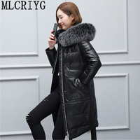 Plus Szie 4XL Winter 100% Real Sheep Leather Jackets 2018 New Natural Fox Fur Genuine Leather Down Long Jacket Women Overcoat