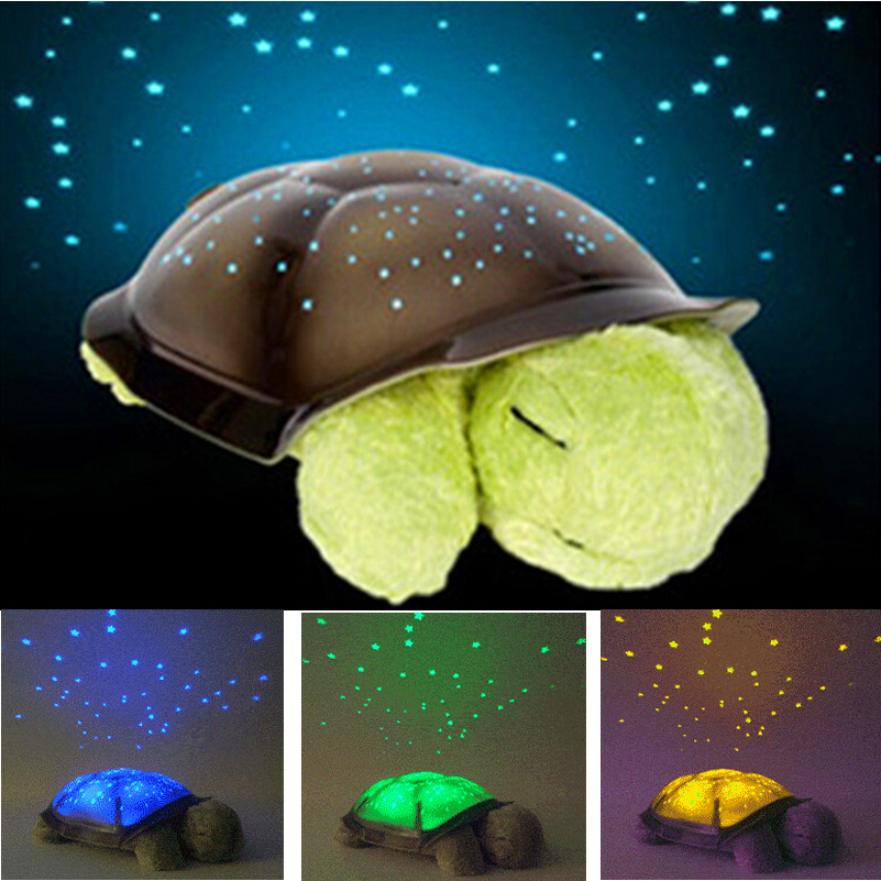Free shipping 4 colors cute design turtle led night light stars projector for baby lamp toy with 4 light music turtle lamp in party favors from home