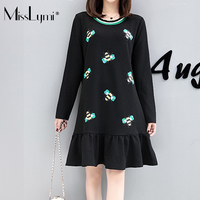 MissLymi XL 5XL Plus Size Ruffles Women Dress 2017 Autumn Winter Cute Casual Loose Long Sleeve