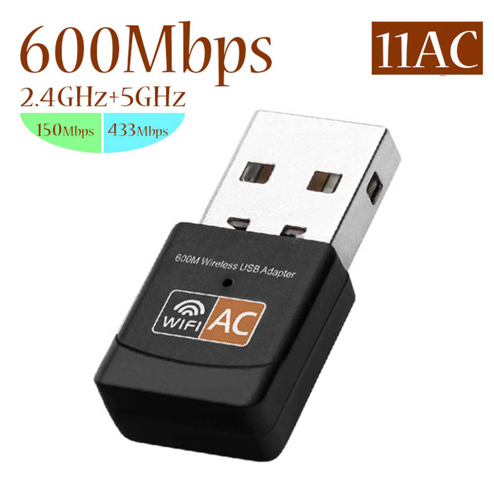USB WiFi Adapter 600Mbps Dual Band Wireless Network Adapter Dongle 2.4GHz / 5.0GHz Wifi Ethernet 802.11AC for PC Laptop Desktop
