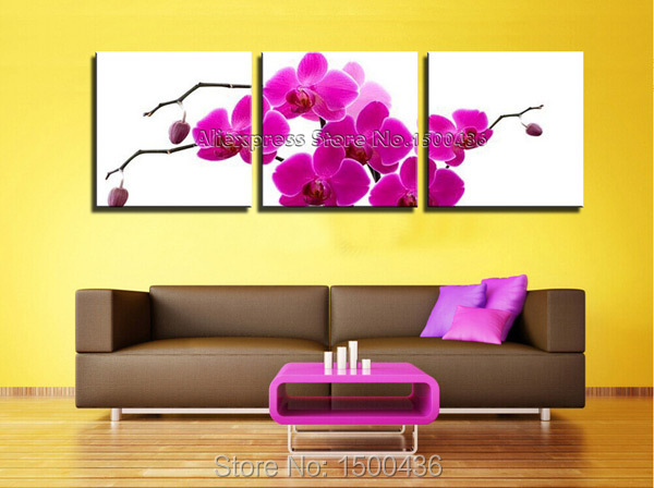Handmade Modern Purple Wall Decor Painting On Canvas 3 Piece ...