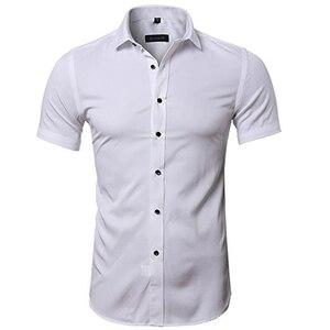 Image 3 - Blauw Bamboevezel Shirt Mannen 2018 Zomer Korte Mouw Heren Dress Shirts Casual Slim Fit Easy Care Effen Non Iron chemise Homme