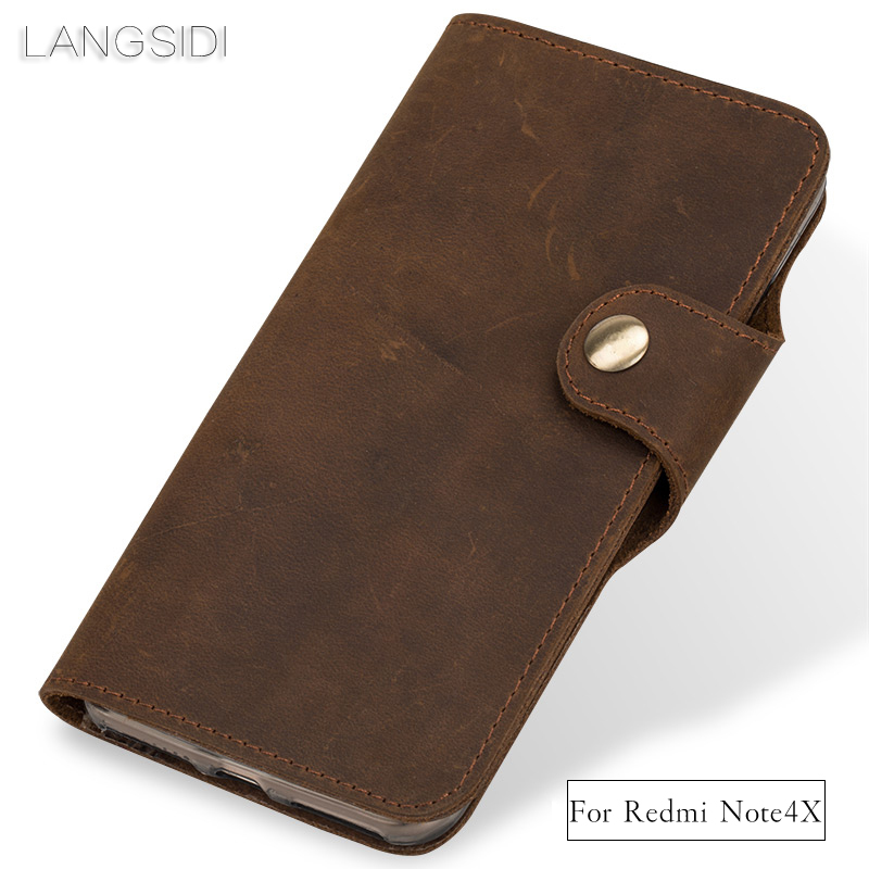 Wangcangli Véritable En Cuir téléphone cas en cuir rétro flip cas de téléphone pour Xiaomi Redmi Note4X main mobile téléphone cas