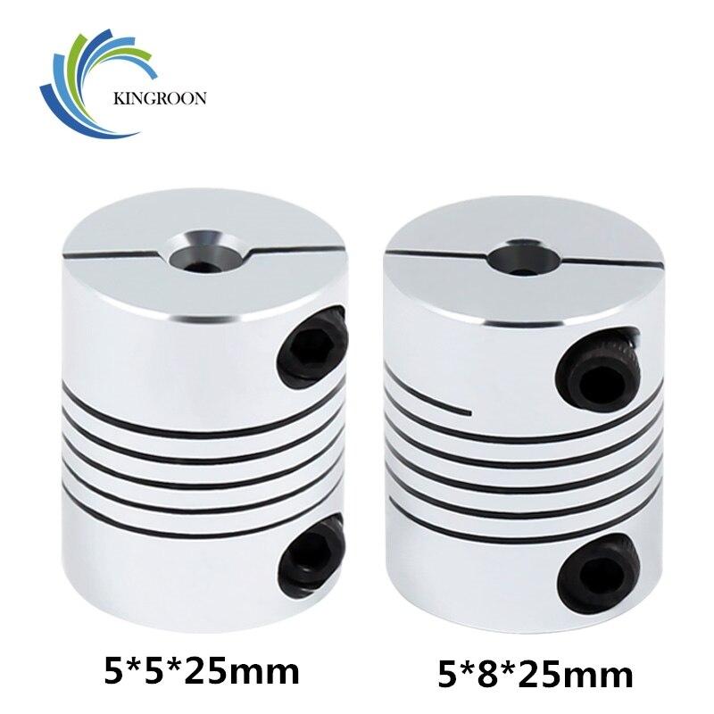 KINGROON Upgrade 3D Printer Flexible Shaft Coupler 5X5X25mm 5X8X25mm Aluminium Stepper Motor Flexible Shaft Coupling CNC Parts 1|3D Printer Parts & Accessories|   - AliExpress