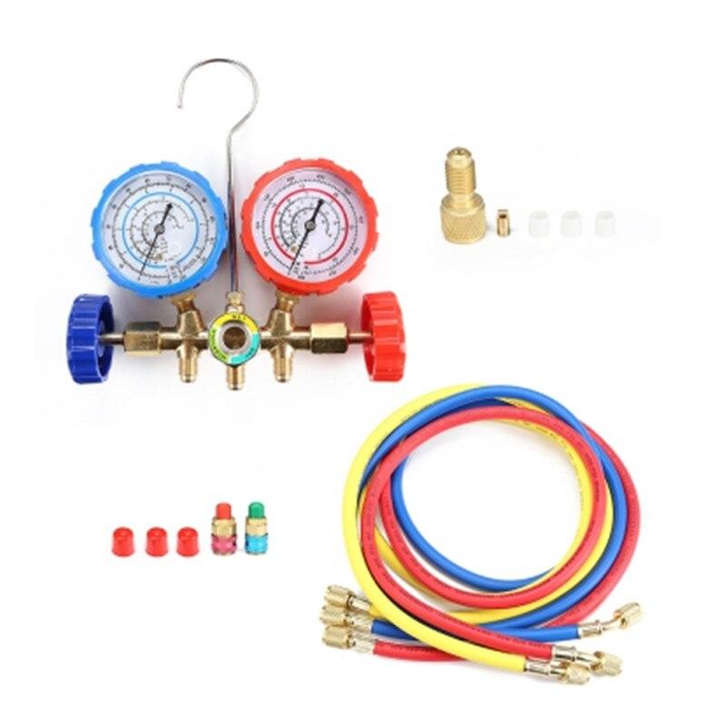 Refrigerante Manifold Calibre set Com Mangueira E Gancho para R22 404 R407 R134/R134 R404 R410 de Refrigeração De Ar Condicionado