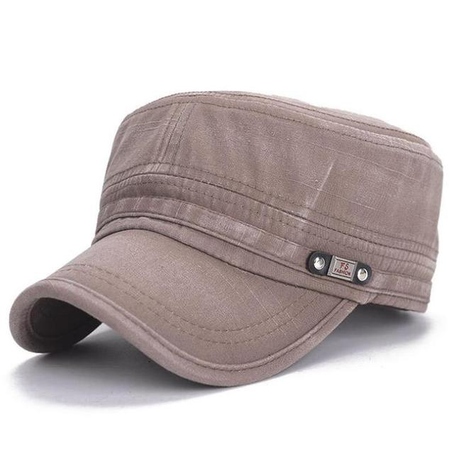 2019 New Arrival Men's Military Cap Autumn Sun Hat Old Washed Flat Cap Plain Vintage Army Military Cadet Style Cap