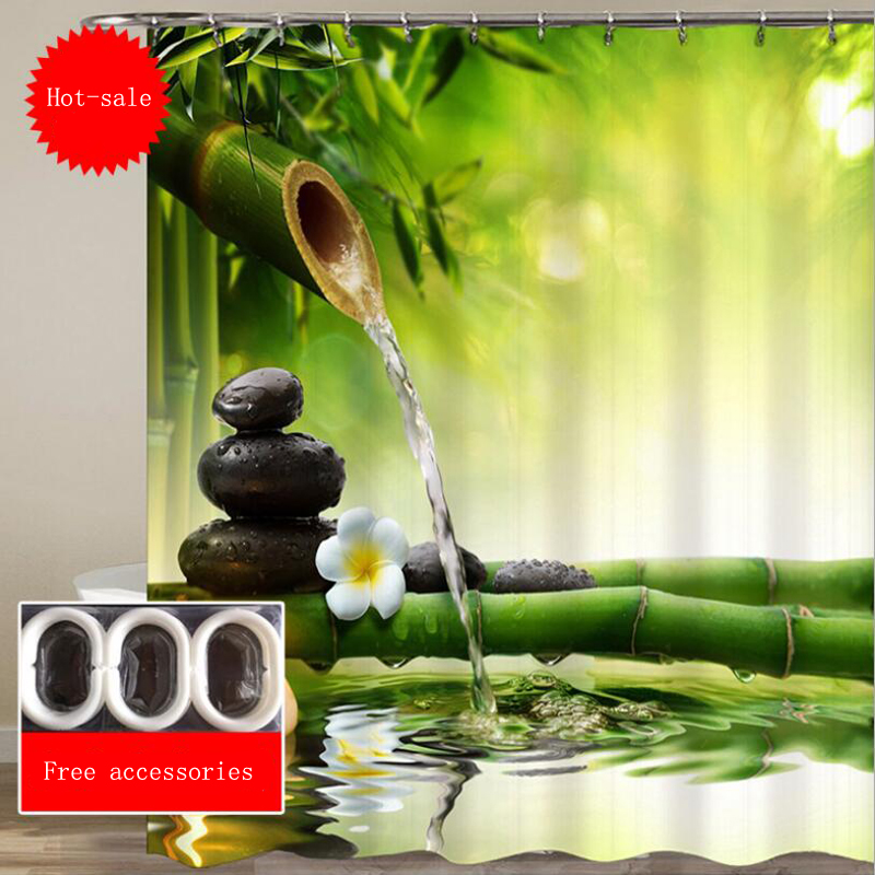 Chinese Pastoral Waterproof 3D Shower Curtain for Bathroom Stone Green Bamboos Printed Decoration Flower Bath Curtain