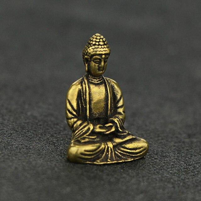 Mini Portable Retro Brass Buddha Zen Statue Pocket Sitting Buddha Hand Toy Sculpture Home Office Desk Decorative Ornament Gift 3