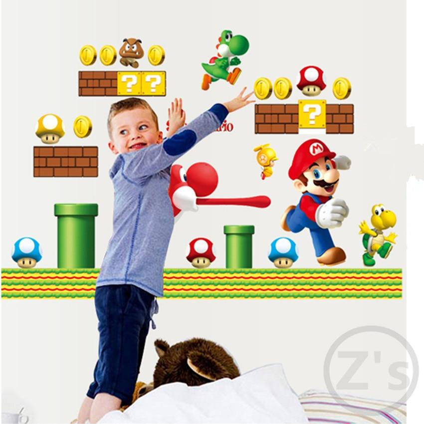 Zs Klistermärke Mario Väggdekaler Video Spel Heminredning Tecknad - Heminredning - Foto 3