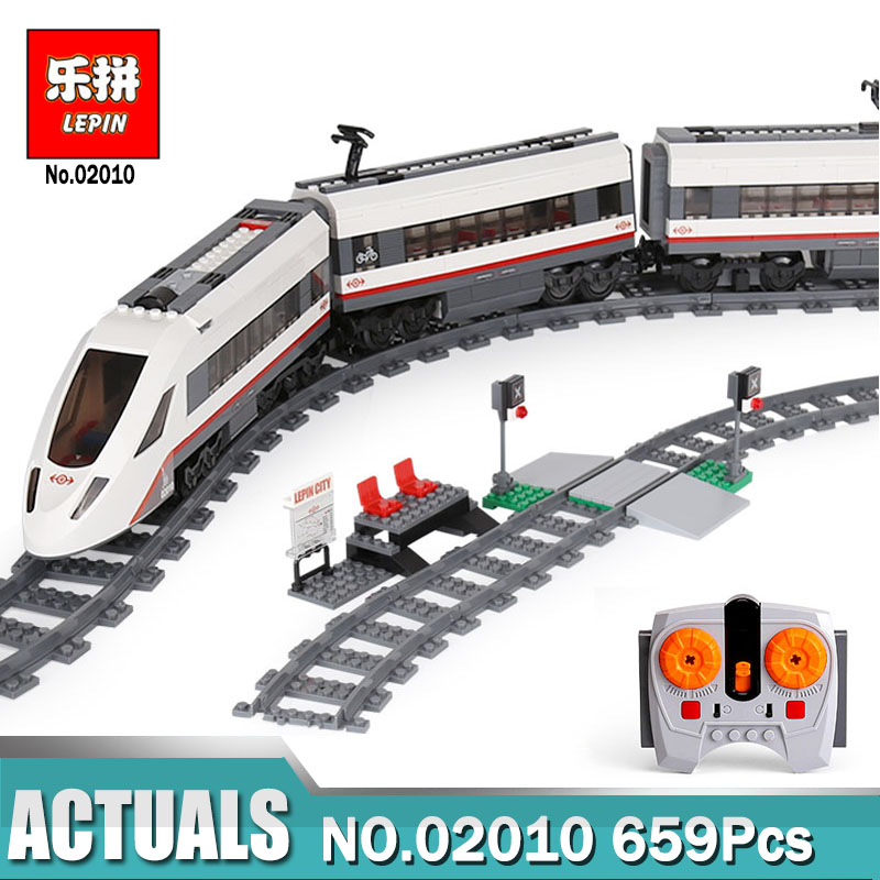 LEPIN 02010 City Series The High-speed Passenger Train Building Remote-control Trucks Legoing 60051 Blocks Bricks Toys for Kid lepin 02010 610pcs city series building blocks rc high speed passenger train education bricks toys for children christmas gifts