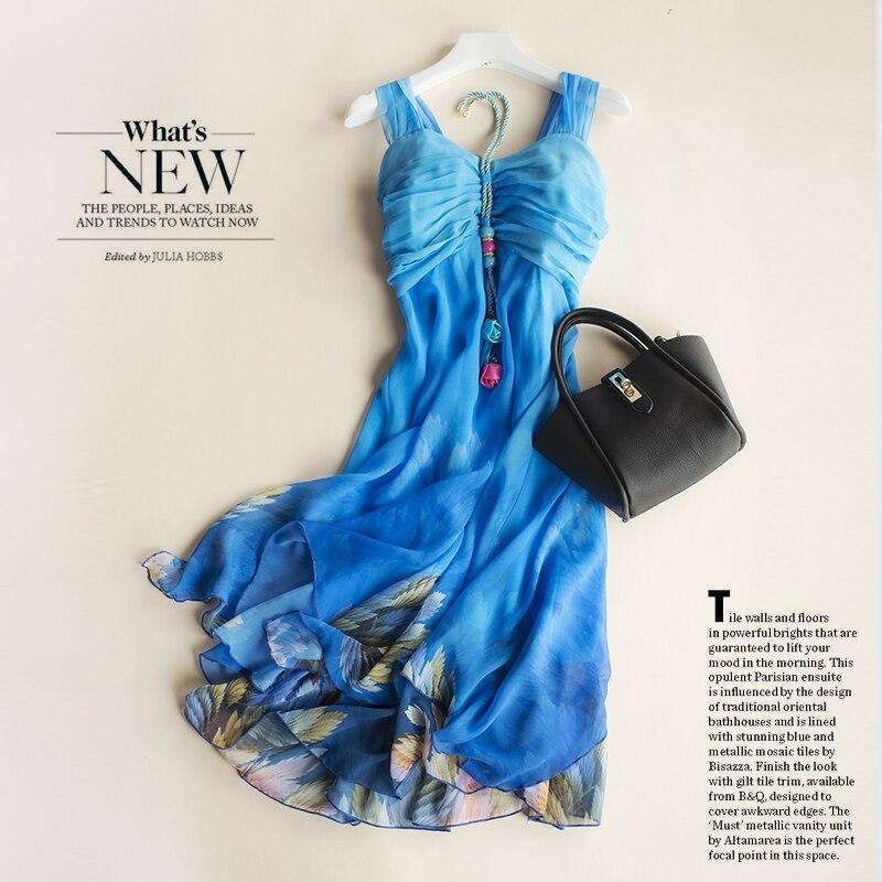 2018 The New Sweet Short Condole Top Chiffon Dress Seaside Holiday Beach