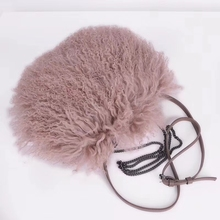 Women Mongolia Sheep Fur Handbag Genuine Lamb Tote Bags ladys tote bag lamb fur female shoulder