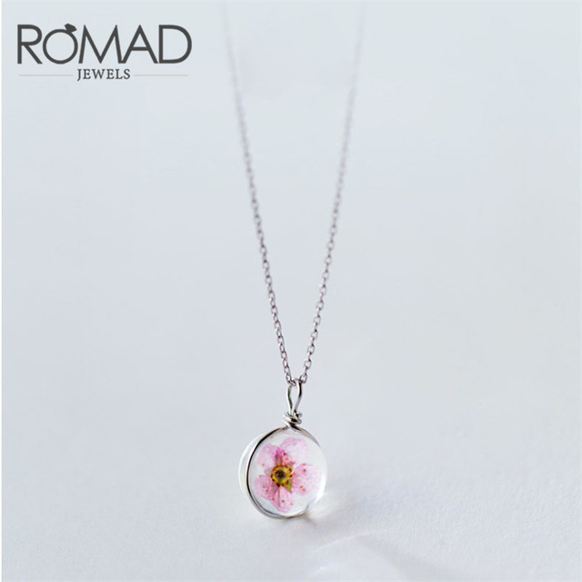 Hot sell peach flower ball pendant 100 925 sterling silver necklace hot sell peach flower ball pendant 100 925 sterling silver necklace for women pink fashion aloadofball Image collections