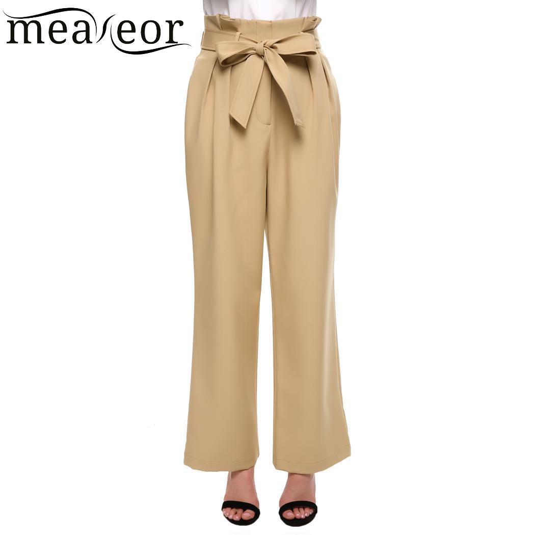 Meaneor High Waist Pleated Women   Pants   Belted   Wide     Leg     Pants   Solid Autumn Summer   Wide     Leg     Pant   for Women Casual Female OL   Pant