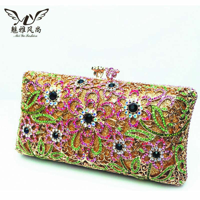 Crystal Diamond Banquet Package Bag Evening Bag Women Wallets Female Handbags Flower Designer Party Prom Bag Bridal Clutch Pink brand designer luxury crystal multicolor clutch bag women diamond evening bag golden oval wedding banquet purse handbags sc467