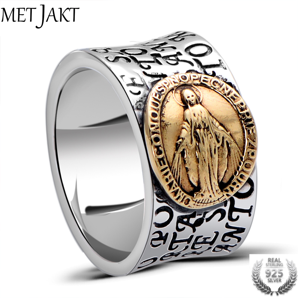 MetJakt Virgin Mary Solid 925 Sterling Ring with Scripture for Unisex Anniversary Religious Fine JewelryMetJakt Virgin Mary Solid 925 Sterling Ring with Scripture for Unisex Anniversary Religious Fine Jewelry