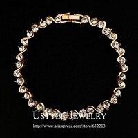 Rose Gold Color 34 pcs Austrian Rhinestones S Letter Strand Bracelet (Ustyle JB0029A)