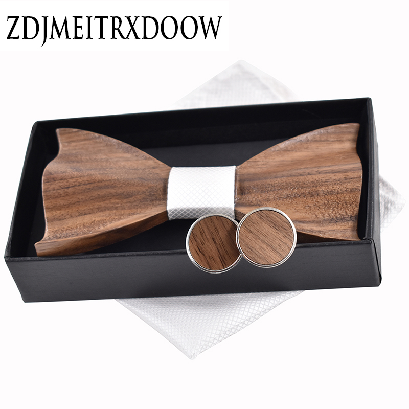 New 2018 3D Wooden Tie Pocekt Square Cufflinks Fashion Wood Bow Tie Wedding Dinne Handmade Corbata Wooden Ties Gravata Set