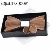 New 2018 3D Wooden tie Pocekt Square Cufflinks Fashion wood bow tie wedding dinne Handmade corbata Wooden Ties Gravata set