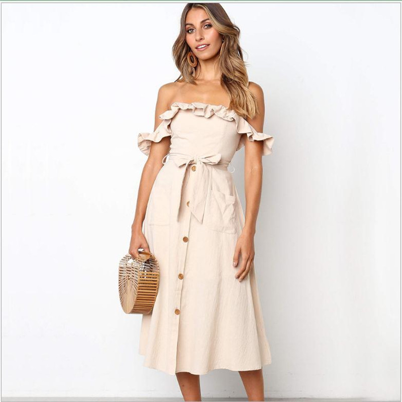 Women A Line Dress Sexy Slash Neck Spaghetti Butterfly Sleeve Dresses Empire  New 2019 Summer Vestidos Female Button Dress Q1225-in Dresses from Women's Clothing on AliExpress - 11.11_Double 11_Singles' Day 1