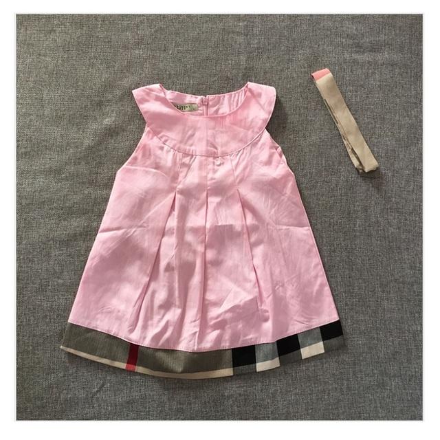 2017 vestidos de bebê verão sem mangas cinta meninas dress 0-dois anos do bebê da menina roupas de algodão