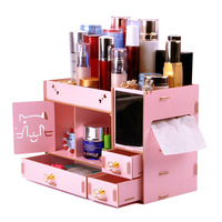 Wooden Storage Box Cosmetic Organizer Home Office Desktop Drawer DIY Assembly Table Case Makeup Organizer