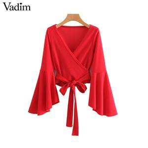 Image 2 - Vadim phụ nữ bow tie chữ thập V neck crop tops sash flare tay áo ngắn bọc áo sơ mi giản dị đỏ trắng tops blusas LA967