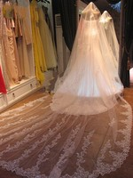 New Arrival Bridal Veils Lace Edge 5 Meter Wedding Veil Tulle Ivory White veu de noiva Bridal Accessories Without Comb 2020