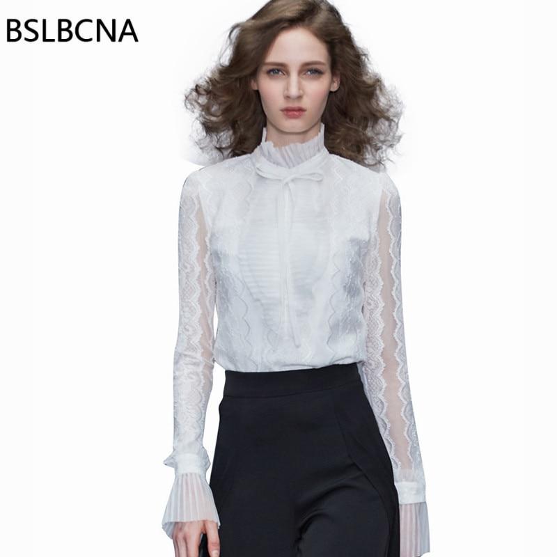 Européenne 2019 été automne nouvelles modes femmes hauts et Blouse manches longues Sexy dentelle couleur unie col montant chemise blanche A288