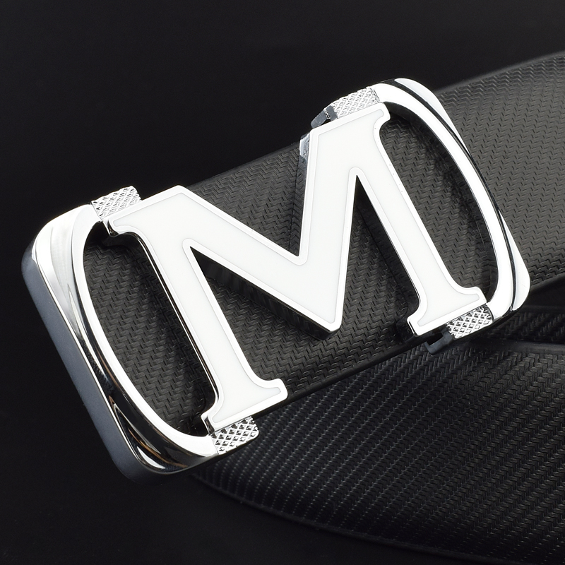 M Letter Ladies Belts Luxury Brand Belt Transparent Black Belt For Man Smooth Buckle High Quality Mens Genuine Leather Belt