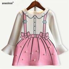 27897f88c0 Weonedream Niñas vestido 2018 nueva otoño vestido de la princesa de dibujos  animados diseño de la impresión del arco de la manga.