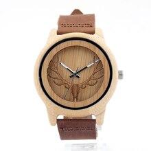 БОБО ПТИЦА Сосна древесины Мужские часы с Выдалбливают Голова Оленя японский miyota 2035 движение наручные часы мужчин бамбук деревянные часы
