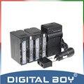 Digital Boy ( 4 unids / 1 Unidades ) 2x NP-F970 NP F970 NPF970 6600 mAh li ion + cargador + cargador de coche para Sony NP-F960 NP-F950 NP-F930 z1