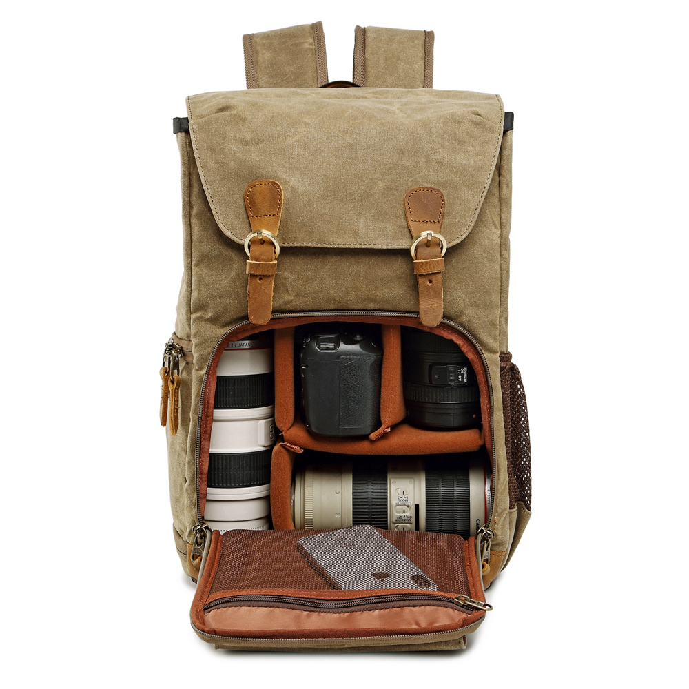 Toile étanche extérieure à la mode Vintage DSLR sac à dos hommes femmes photographie sac à bandoulière pour Canon Nikon Sony numérique
