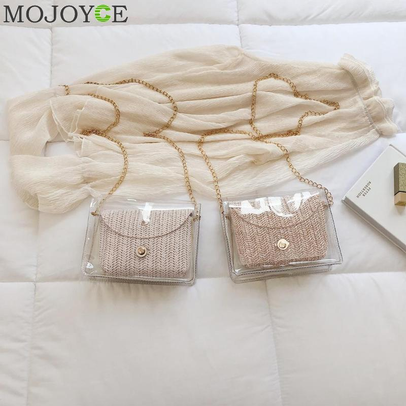2pcs/set Handbag Transparent Women Hand Bags Chain Straw Bag Lady Travel Beach Shoulder Cross Body Bag Holiday