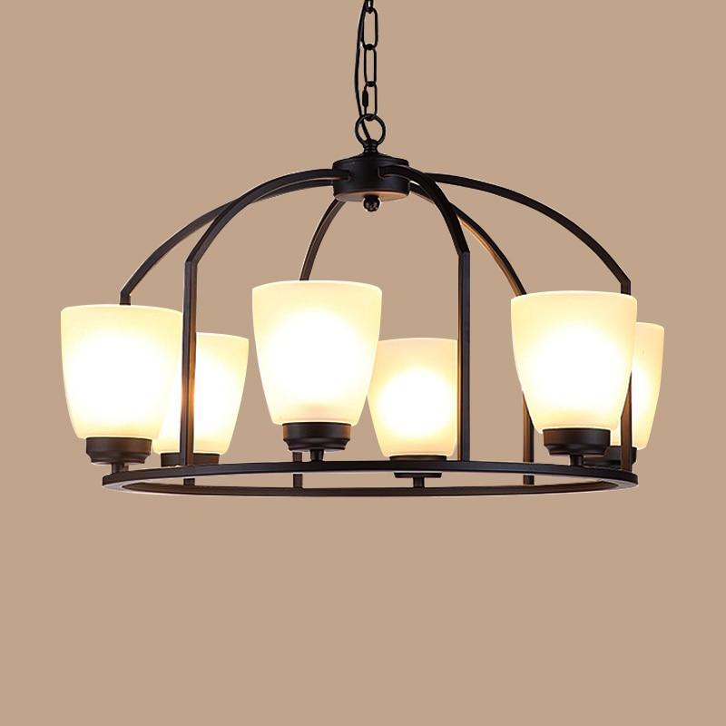Simple round iron pendant lights creative living room bedroom buffet lighting Retro loft hotel pendant lamps 4/6/8heads ZA GY327