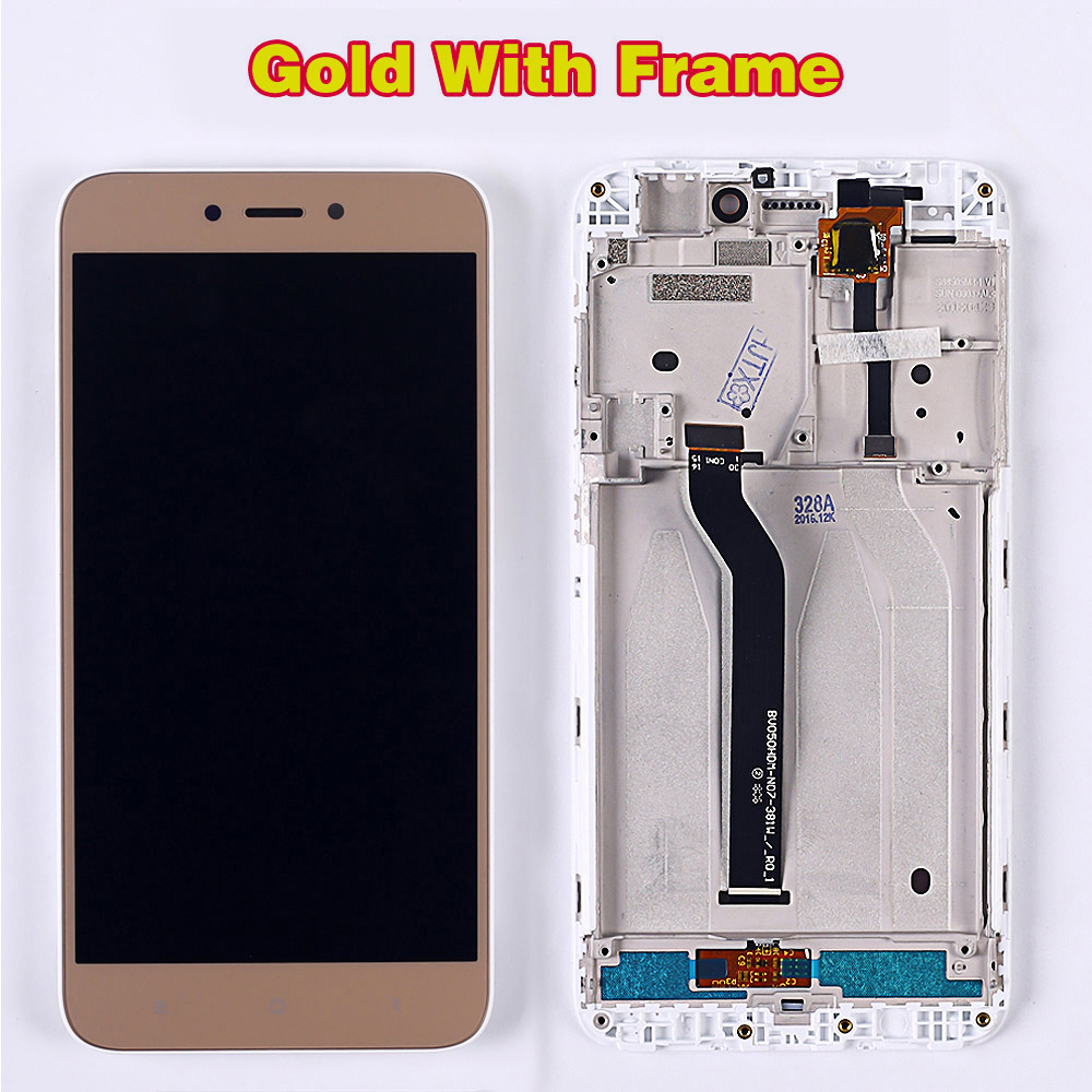HTB1yCzpUhjaK1RjSZFAq6zdLFXaS 100% Tested LCD Display For Xiaomi Redmi 5A 5.0 inch Digitizer Sensor Glass Assembly touch screen frame with Free Tempered Glass