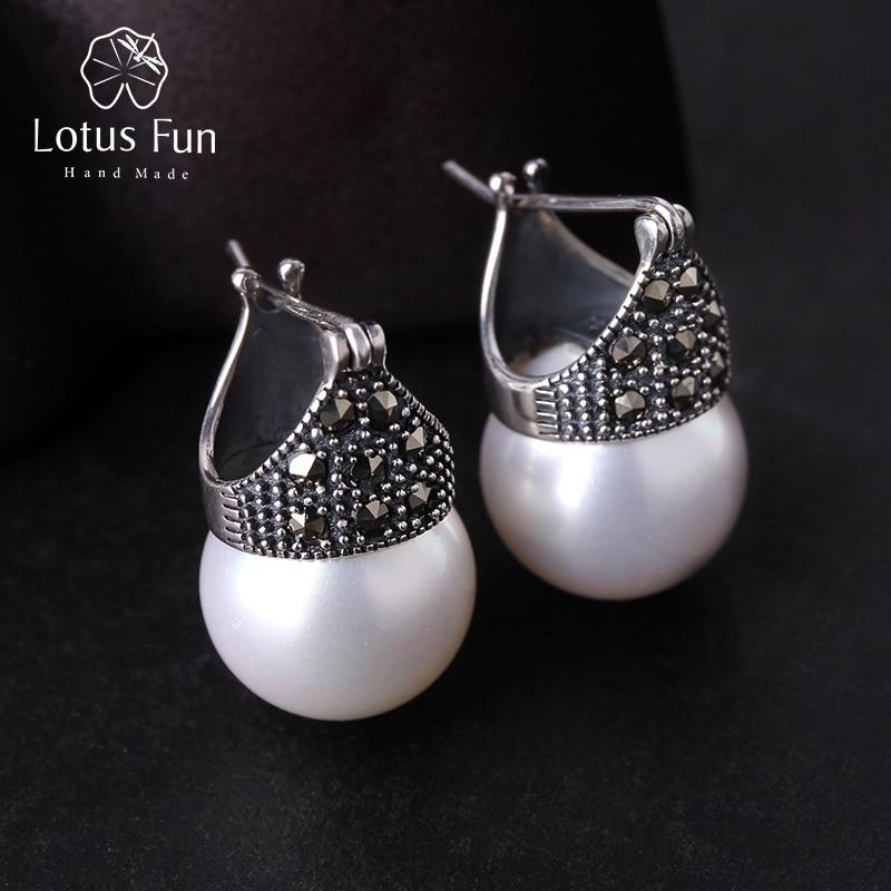 Lotus Fun Real 925 Sterling Silver Natural Handgjorda Designer Fine Smycken Vintage Fashion Drop Earrings för kvinnor Brincos Bijoux