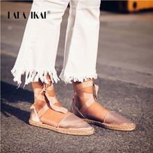 LALA IKAI Espadrilles Silk Sandals Solid Rome Cross-Strap Sandals Bandage Woman Hemps Shoes Zapatos Planos Mujer 014A1991 -4