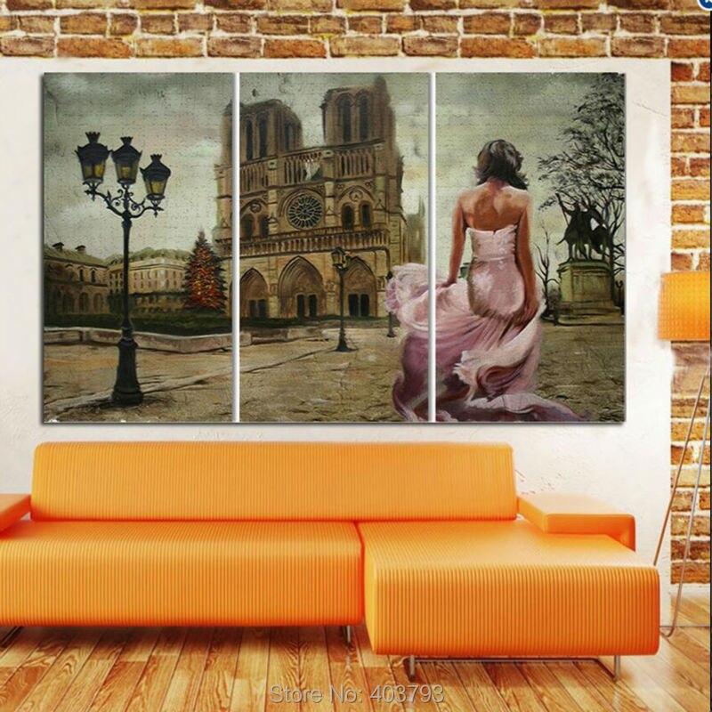 3 Panneaux abstraite moderne belle fille et château paysage peinture à l'huile peint à la main peinture sur toile pour la maison décor sans cadre