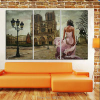 3Panels modern abstract beautiful girl and castle landscape oil painting hand painted paint on canvas for home decor unframed