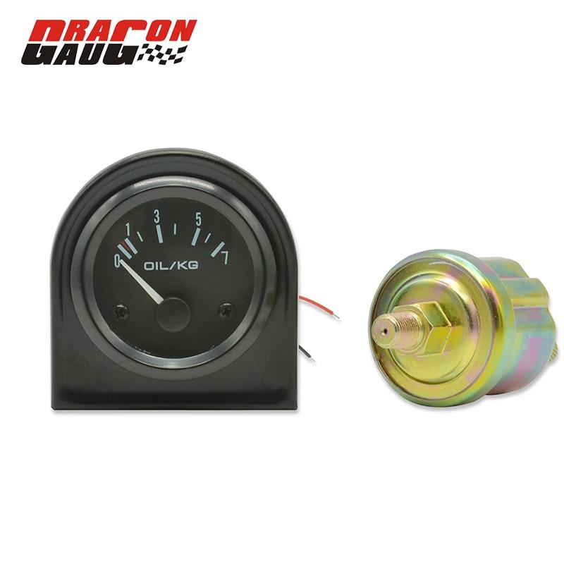 Dragon gauge 2 düym 52mm qara analoq avtomobil modifikasiyası yarış yağ təzyiq ölçmə cihazı Metr vahidi 0-7 kq təsadüfi Pods sensoru
