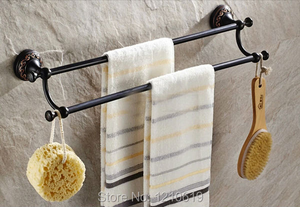 ФОТО Dual Towel Bars Oil Rubbed Bronze Bathroom Towel Bar Bath Towel Rack Holder Solid Brass Wall Mounted