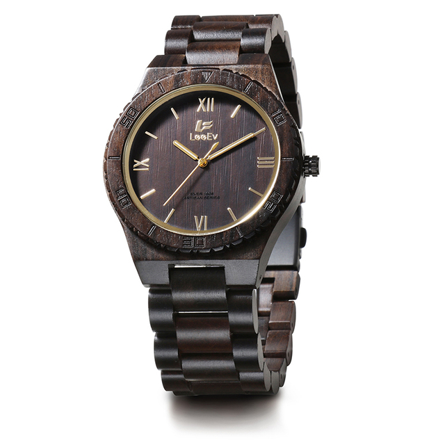 LeeEv EV1908 Mens Handmade Black Sandal Wood Watch Analog Quartz Light Weight Vintage Wooden Wrist Watch