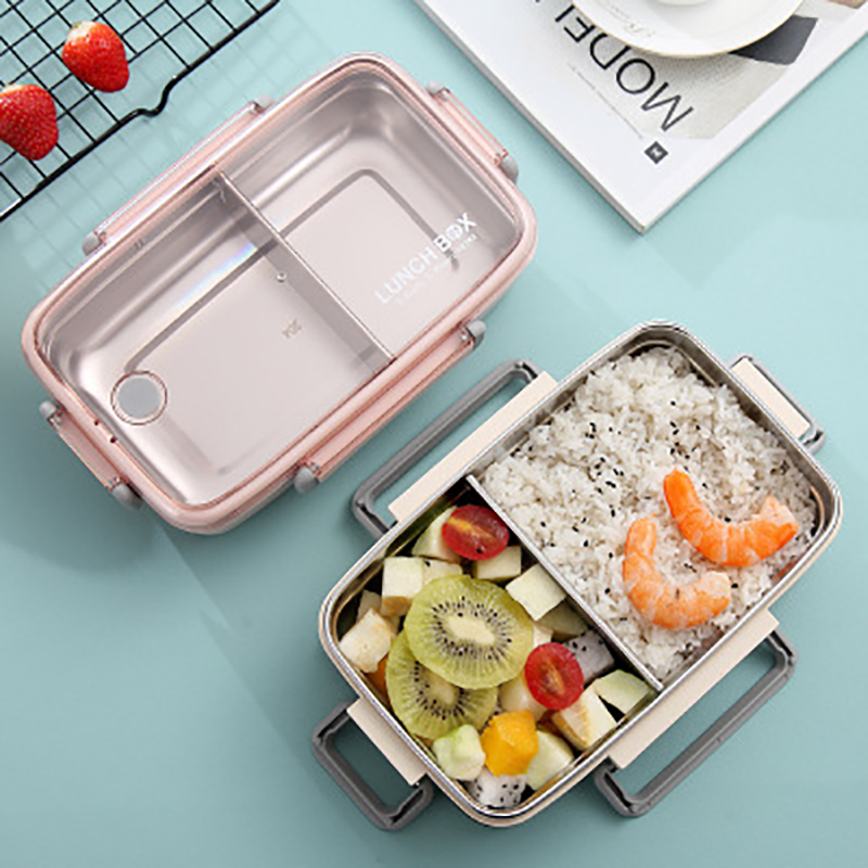 Lunch Box Bamboo Fiber Insulation with Compartments Food <font><b>Container</b></font> Student Adult Cute Bento Box 304 Stainless Steel image