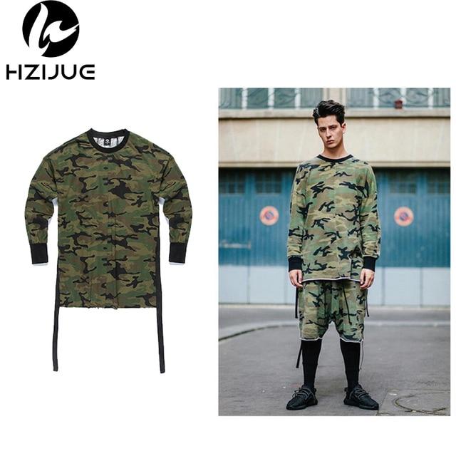 2017 nova hip hop dos ganhos T shirt roupas street wear kpop homens urbanos espinhel OVERSIZE de manga comprida t camisa camo camuflagem