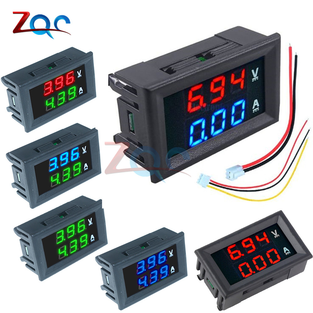 Mini Dual Digital Voltmeter Ammeter DC 100V 10A Panel Amp Volt Voltage Current Monitor Meter Tester Detector 0.56