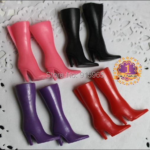 Free shpping 100 pairs/lot wholesales pink red purple black boots for 1/6 BJD doll special Fashion Shoes for doll